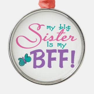 Butterfly Big Sister BFF Metal Ornament