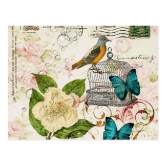 butterfly birdcage french camellia modern vintage postcard