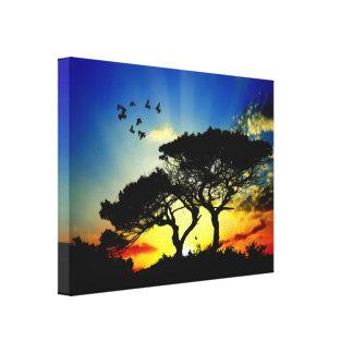 Butterfly & Birds Sun Burst Canvas Print