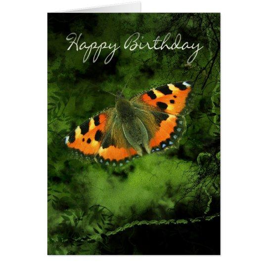 Butterfly Birthday Card - Orange Butterfly On Grun