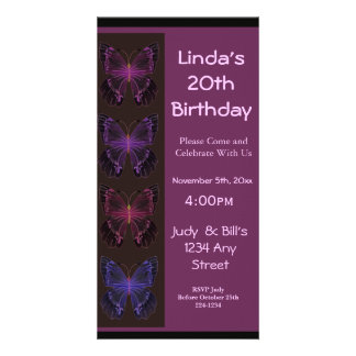Butterfly Birthday Invitation Photo Greeting Card