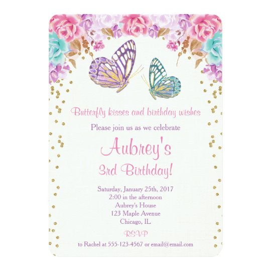 Butterfly birthday invitation pink purple gold invitation zazzle butterfly birthday invitation pink purple gold invitation stopboris Image collections
