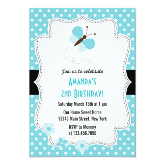 Butterfly Birthday Party Invitation Blue