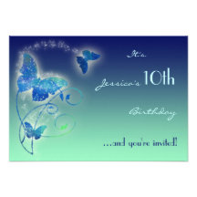 Butterfly Birthday RSVP Card Personalized Invitations