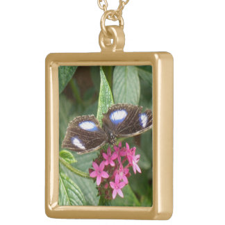 Butterfly Black Blue Pink Flowers Gold Plated Necklace