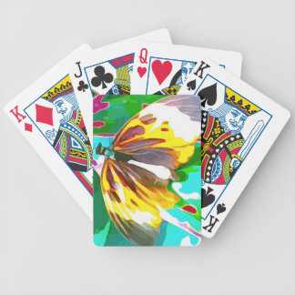 Butterfly Black Yellow White Striped Bicycle Playing Cards