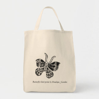 Butterfly block print by Penelopes_Ga... Grocery Tote Bag