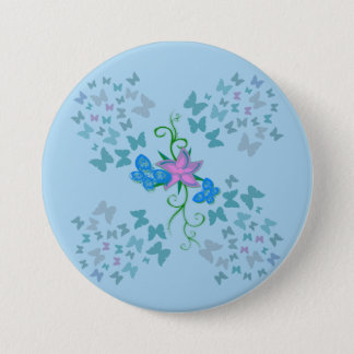 Butterfly Blue 7.5 Cm Round Badge