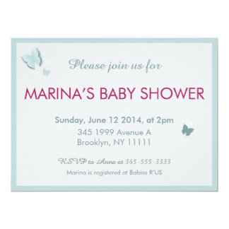 Butterfly Blue and Grey Baby Shower invitation