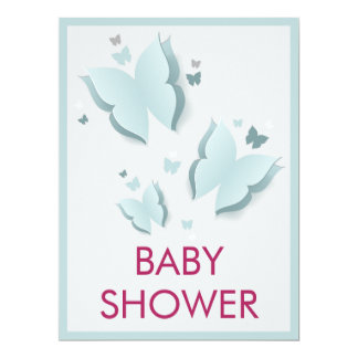 """Butterfly Blue and Grey Baby Shower invitation 6.5"""" X 8.75"""" Invitation Card"""