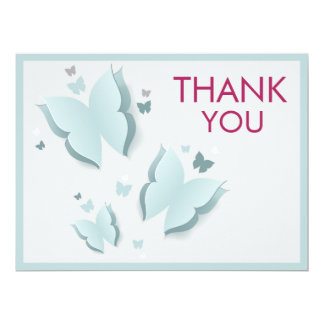 Butterfly Blue and Grey Thank You Card 17 Cm X 22 Cm Invitation Card