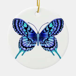 butterfly blue and white love ceramic ornament