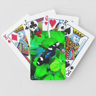Butterfly Blue Black and White Bicycle Playing Cards