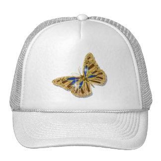 Butterfly blue brown gold elegant cap