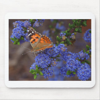 Butterfly Blue Flowers Mouse Pad