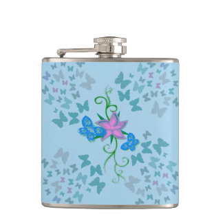 Butterfly Blue Hip Flask