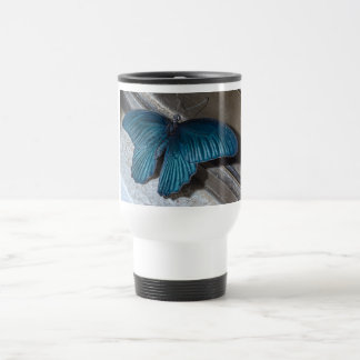 butterfly blue insect flying beautiful wings stainless steel travel mug