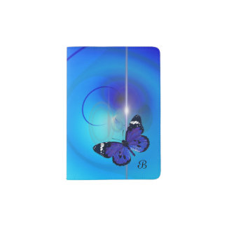 Butterfly Blue Monogram Passport Holder