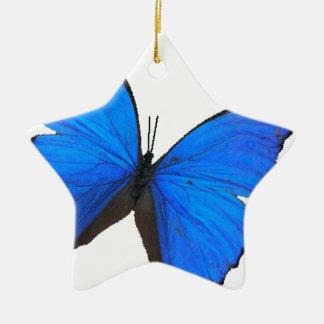 butterfly blue morpho flying skies pattern smile ceramic star ornament