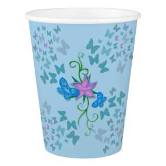 Butterfly Blue Paper Cup