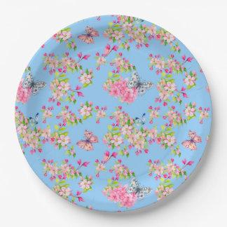 Butterfly Blue & Pink Garden Paper Plate