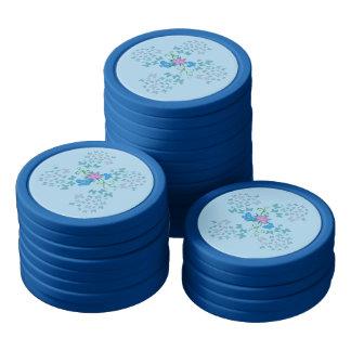 Butterfly Blue Poker Chips