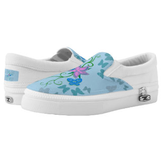 Butterfly Blue Slip On Shoes