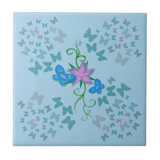Butterfly Blue Small Square Tile