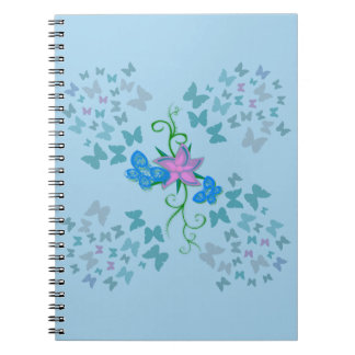 Butterfly Blue Spiral Notebook