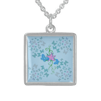 Butterfly Blue Sterling Silver Necklace