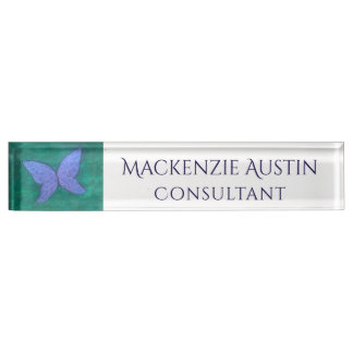 Butterfly | Blue Violet Purple Green Wings Nameplate