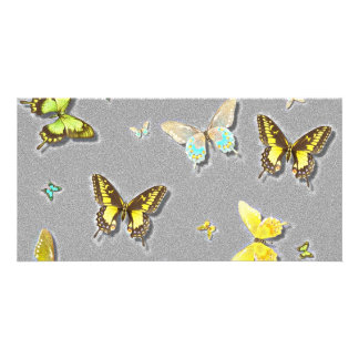 Butterfly Bookmark Black Custom Photo Card