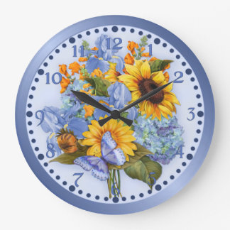 Butterfly Bouquet Floral Large Clock
