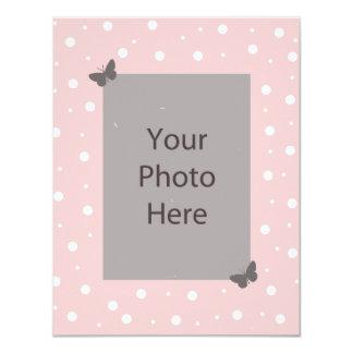 "Butterfly Bubble Wedding Invitation - Pink Grey 4.25"" X 5.5"" Invitation Card"