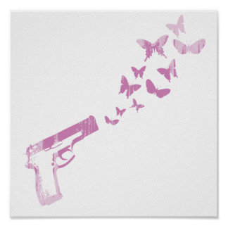 BUTTERFLY BULLETS (PINK) Faded.png Posters