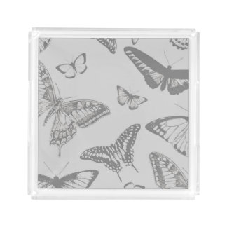 Butterfly (Butterflies), Insects - Pale Gray Acrylic Tray