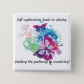 Butterfly Button. Inspiration be with you. 15 Cm Square Badge