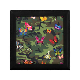 butterfly camouflage small square gift box