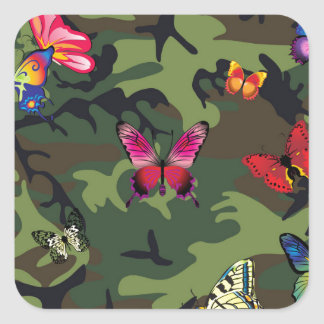 butterfly camouflage square sticker