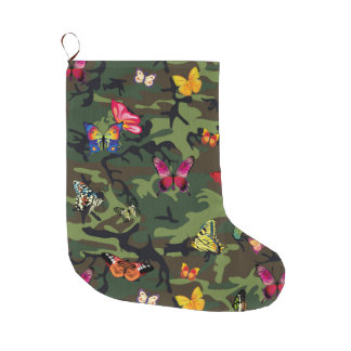 butterfly camouflage xmas christmas stocking