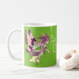 Butterfly Cartoon Romantic Thinking of You Green Coffee Mug