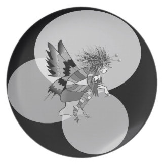 Butterfly Cartoon Unusual Monochromatic Abstract Party Plate