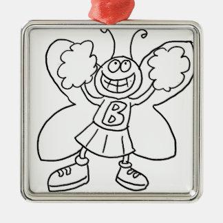 Butterfly Cheerleader Metal Ornament