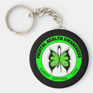 Butterfly Circle Mental Health Awareness Basic Round Button Key Ring