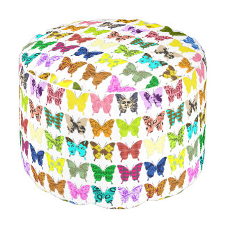 Butterfly Collage Pouf
