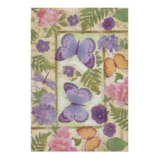 Butterfly Collage with Flowers and Dragonfly Poster