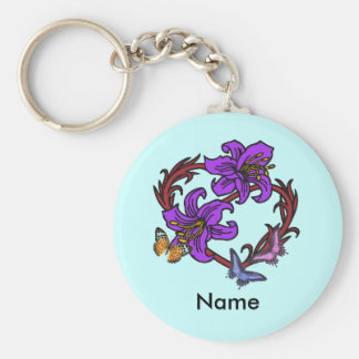 Butterfly Collection Basic Round Button Key Ring