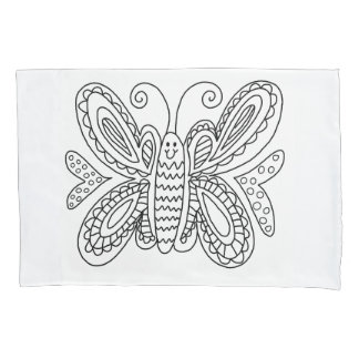 Butterfly Coloring DIY Doodle Pillowcase
