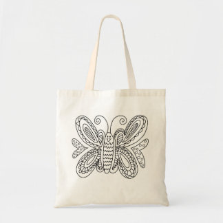 Butterfly Coloring DIY Doodle Tote Bag