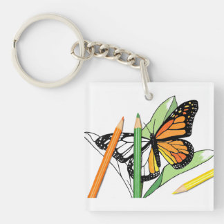 Butterfly Coloring Key Chain Fob Ring